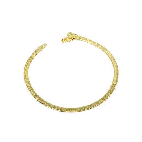 18K Gold Layer Herringbone Anklet - Donna Italiana ®