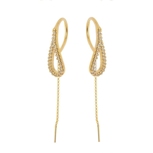 18k Gold Layer Loop Cz Violador Earring - Donna Italiana ®