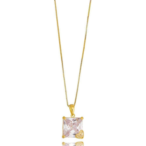 18K Gold Layer Oversized Princess Cut Cubic Zirconia Necklace - Donna Italiana ®