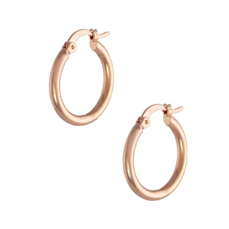 18k Rose Gold Hoop Earrings 20mm - Donna Italiana ®