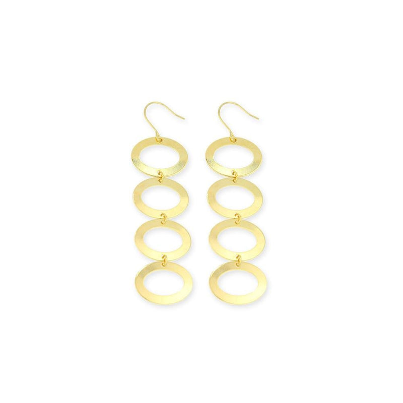 18KG Dangle Elliptical Earrings - Donna Italiana ®