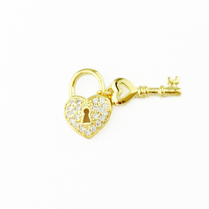 18KGL 21CZ 1.25MM Heart & Key Charm - Donna Italiana ®