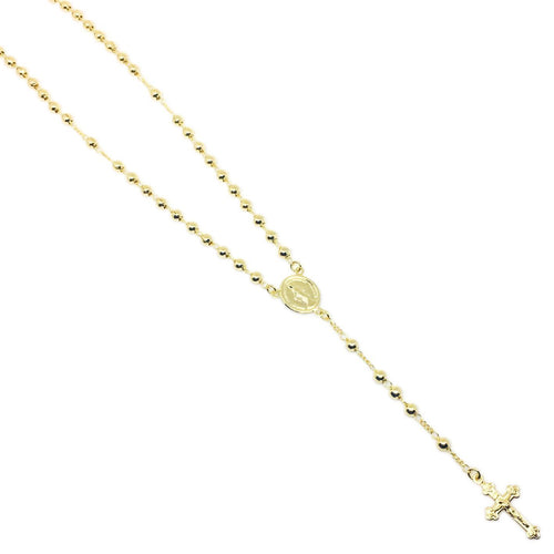 18KGL 3.5MM Plain Rosary Necklace - Donna Italiana ®