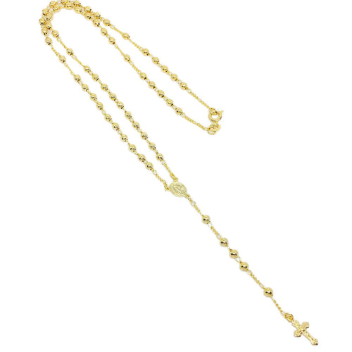 18KGL 3.75MM Plain Rosary Necklace - Donna Italiana ®