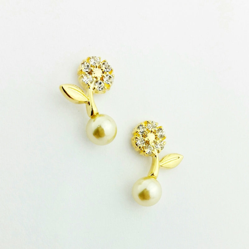 18KGL CRYSTAL FLOWER DROP PEARL - Donna Italiana ®