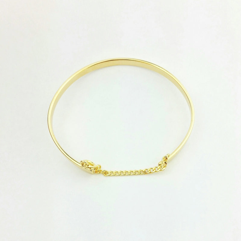 18KGL CUFF BANGLE WITH CHAIN - Donna Italiana ®