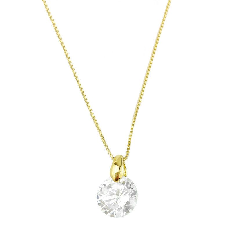 18KGL CZ SOLITAIRE NECKLACE 17 - Donna Italiana ®