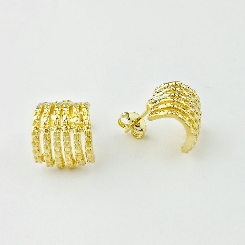 18KGL DETAIL CURVE 6 LINES EARRING - Donna Italiana ®