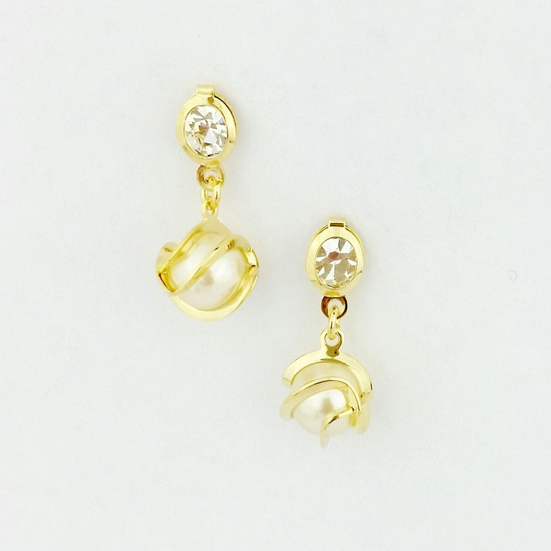 18KGL DETAILED DROP PEARL EARRING - Donna Italiana ®