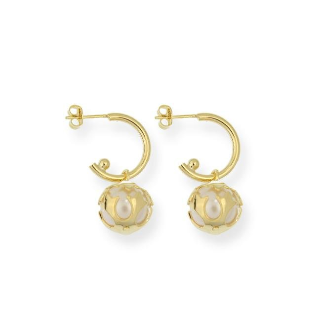 18KGL Encaged Pearl Earring - Donna Italiana ®
