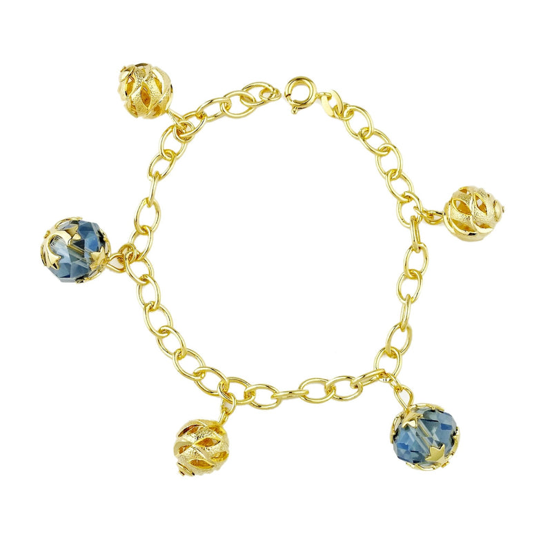 18KGL Gold Ball & Glass Bracelet - Donna Italiana ®