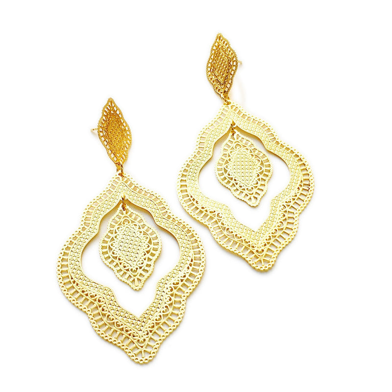 18KGL Hollowed Indian Earrings - Donna Italiana ®