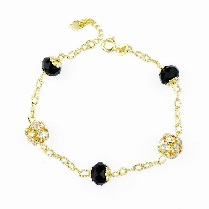 18KGL Rhinestone Ball and Beads Bracelet - Donna Italiana ®