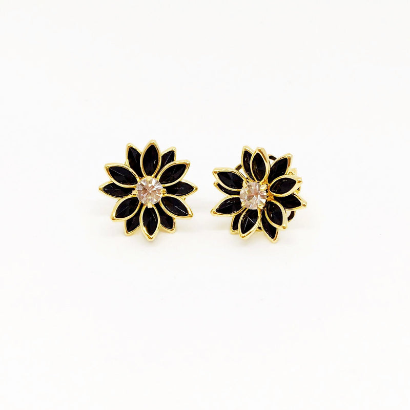 18kt GL Black Flower w/Crystal - Donna Italiana ®