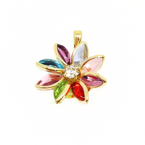 18kt GL Multi Colored Crystal Flower Charm - Donna Italiana ®