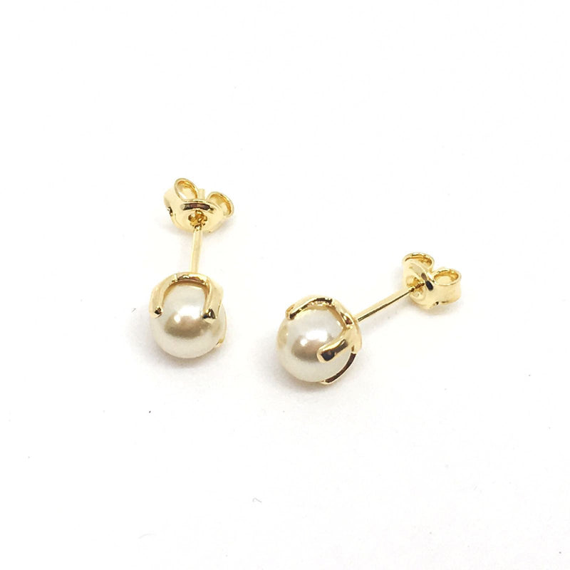18kt GL Pearl Earrings 6mm 4 prongs - Donna Italiana ®