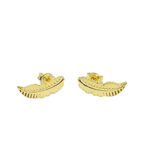 18K GL Boho Feather Studs