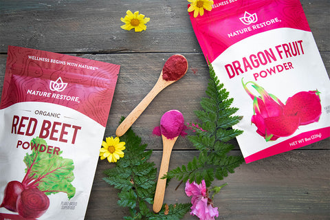 pink superfood oats recipe Nature Restore Dragon Fruit and Red Beet powders