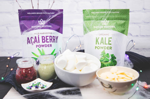 cute and easy halloween treats with Nature Restore wild harvested acai berry powder and organic kale powder