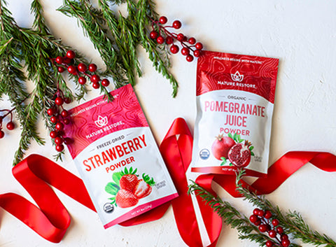 Nature Restore Pomegranate and Strawberry powders - holiday gift ideas for vegans