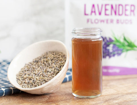 lavender simple syrup with nature restore organic lavender flowers
