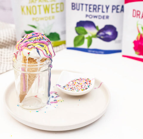 Rainbow Magic Shell Ice cream with Dragon Fruit and Butterfly Pea