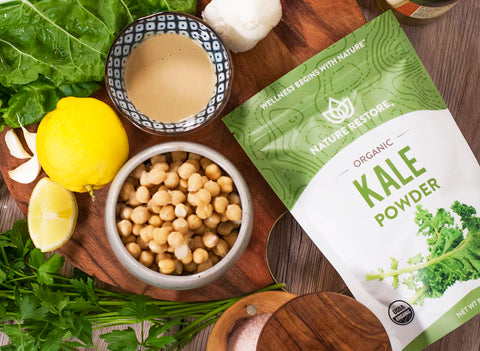 Homemade healthy hummus recipe - nature restore kale powder