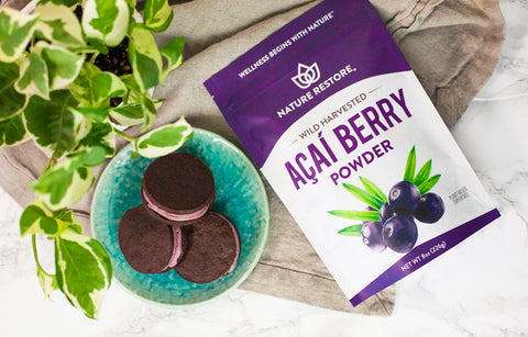 Nature Restore Wild Harvested Acai Berry Powder - plate of cookies