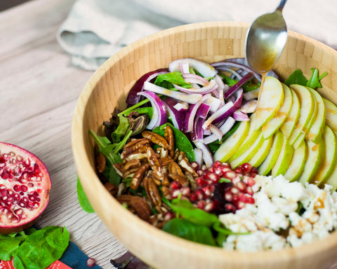 Fall Salad With Homemade Healthy Pomegranate Dressing