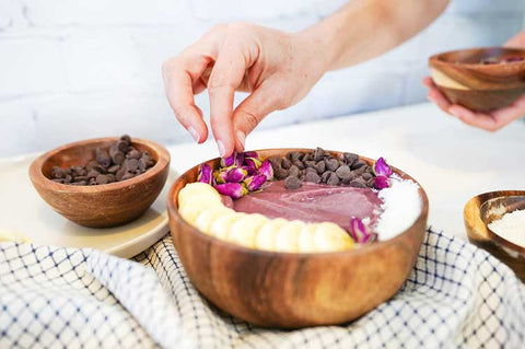 Nature Restore Elderberry Smoothie Bowl with Rosebud topping