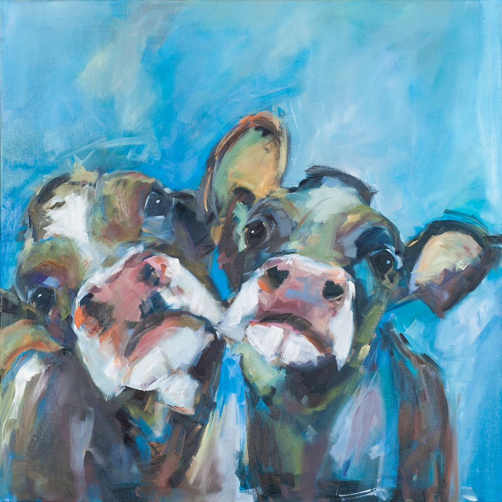 """Pansy and Buttercup"" Cows on canvas by Sue Moffitt - 340gsm Canvas - Limited edition of 75"