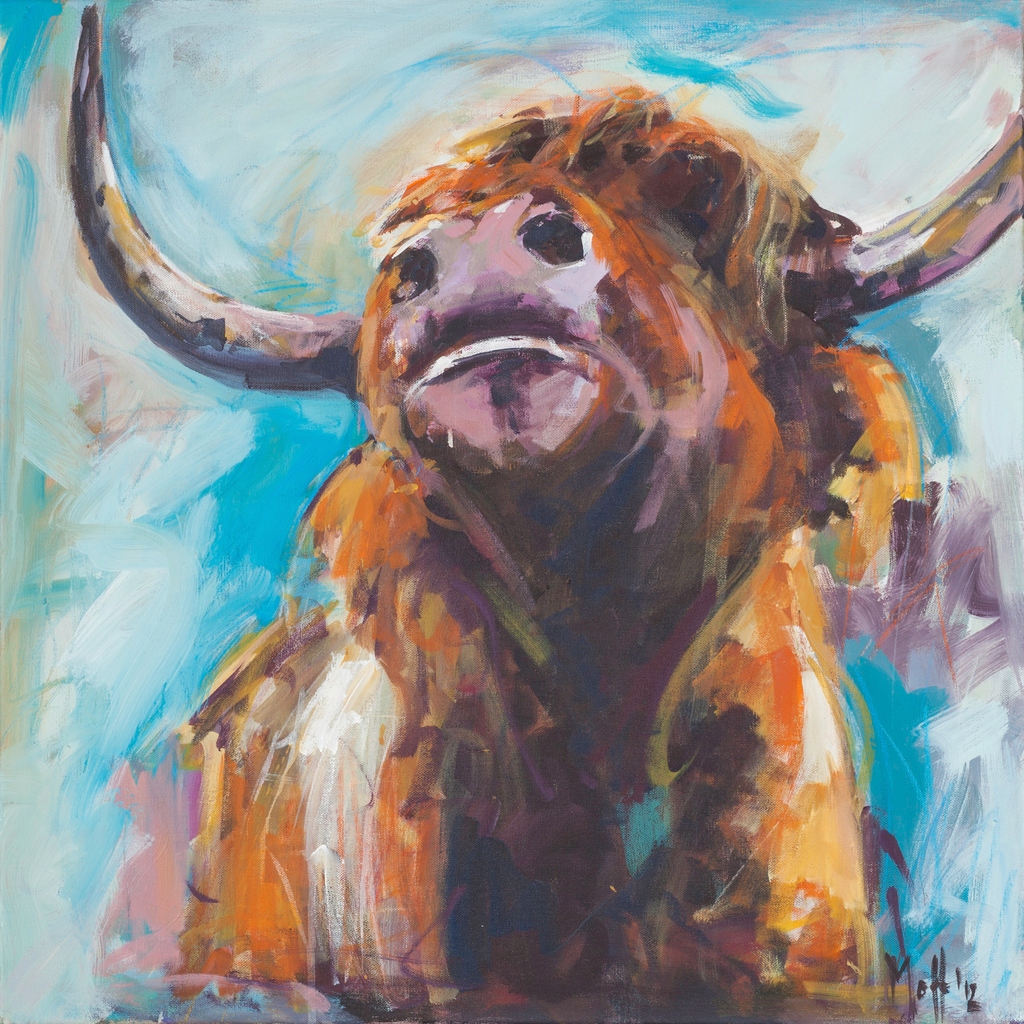 """Little Hero"" Cow print by Sue Moffitt - 310gsm paper - Limited edition of 75"