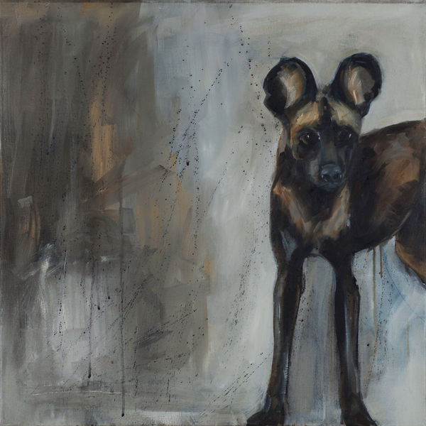 """Picasso"" African dog on canvas by Sue Moffitt - 340gsm Canvas - Limited edition of 75"