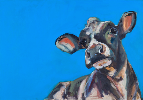 """Hope"" Cow on canvas by Sue Moffitt - 340gsm Canvas - Limited edition of 75"