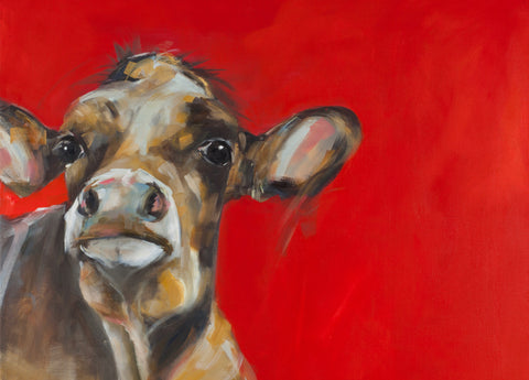 """Bethsheba"" Cow on canvas by Sue Moffitt - 340gsm Canvas - Limited edition of 75"
