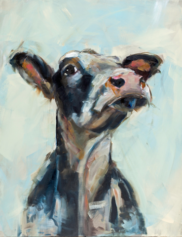 """Lulubelle"" Cow on canvas by Sue Moffitt - 340gsm Canvas - Limited edition of 75"