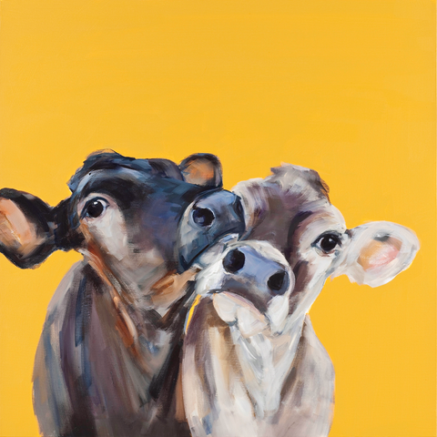 """Ruby and Bess"" Cows on canvas by Sue Moffitt - 340gsm Canvas - Limited edition of 75"