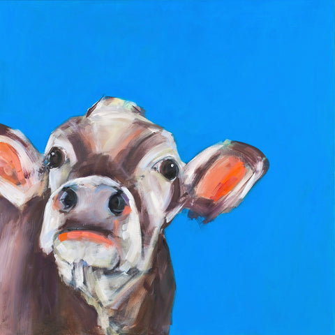 """Rose"" cow print by Sue Moffitt - 310gsm paper - Limited edition of 75"