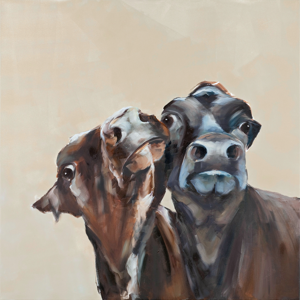 """Jessie and Trixie"" cow print by Sue Moffitt - 310gsm paper - Limited edition of 75"