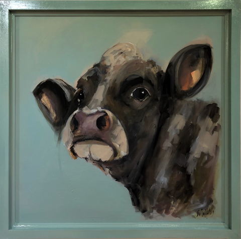 """Lucky II"" - Sue Moffitt original cow painting - framed"