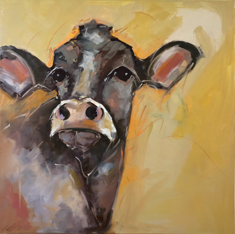 """Willow II"" - Sue Moffitt original cow painting"