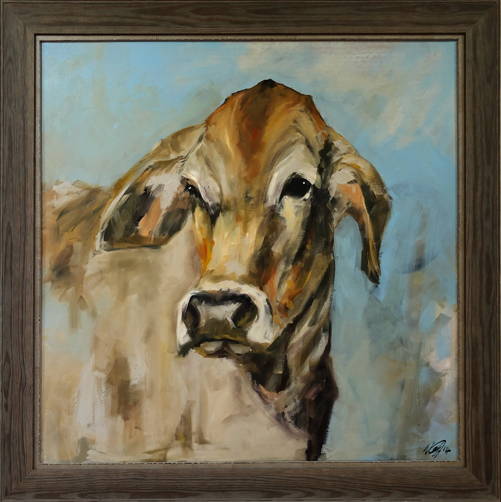"""Mpofu"" - Sue Moffitt original cow painting - framed"
