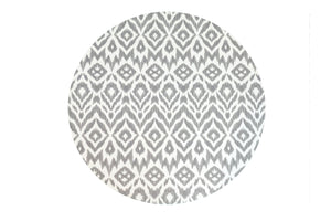 grey ikat + stripe - round