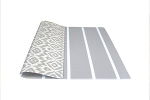 grey ikat + stripe