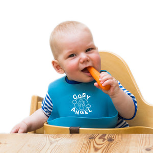 Waterproof Silicone Weaning Bibs, easy to clean - Comfortable Soft Baby bib for Boys &  Girls Preventing mess & stains, set of 2