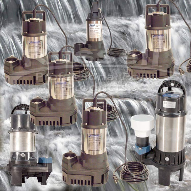 "Submersible Pond and Waterfall Pumps 1,800 gph - 10,500 gph  1¼"", 1½"", 2"", and 3"" outlets"