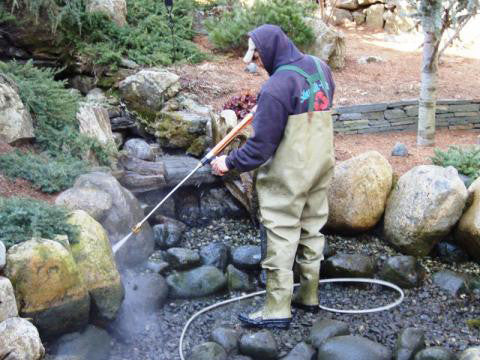 Now you'll be pressure washing the entire pond
