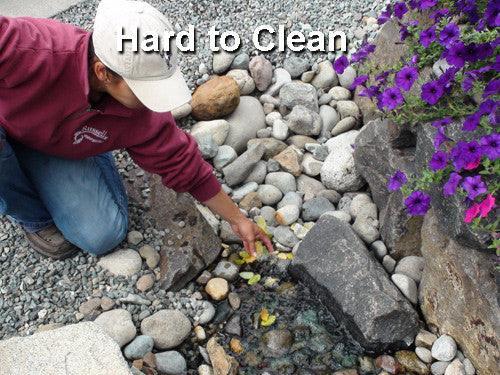 Pondless Basin-Ectomies are replacing hard to clean pondless gravel basins with easy to clean Hydro Sieve filter and Hydro Chamber pump vault/water storage tank