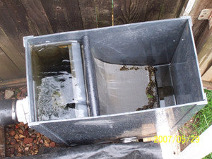 Conventional pond sieves are extremely unattractive in the landscape