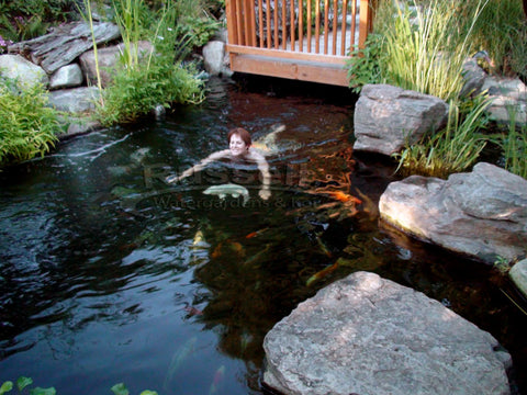 You can swim with your koi in a CrossOver Pond™!